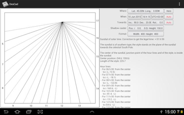 DesCad - sundial simulator screenshot 2
