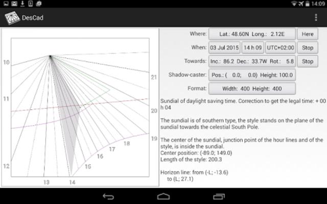 DesCad - sundial simulator screenshot 3