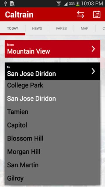 Caltrain screenshot 6