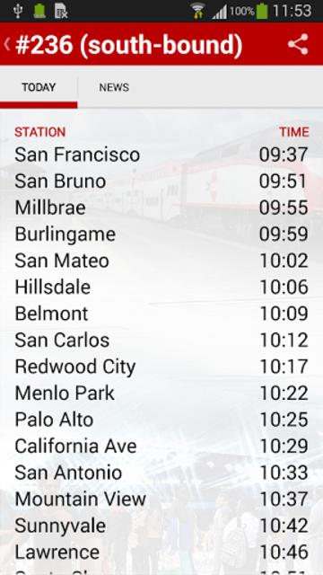 Caltrain screenshot 7