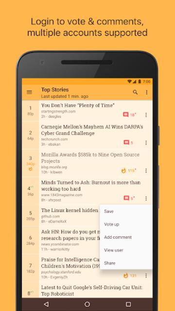 Materialistic - Hacker News screenshot 1