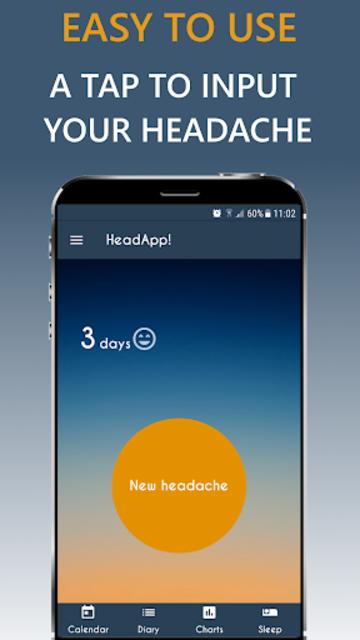 Migraine Headache Diary HeadApp screenshot 1