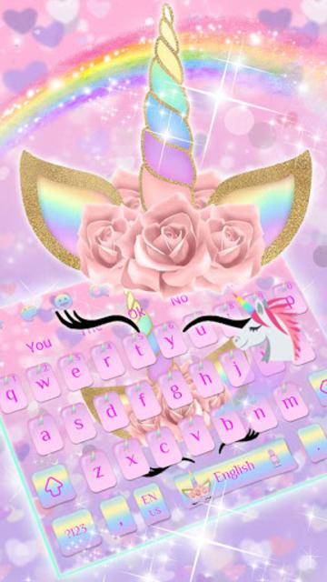 Pink Flower Unicorn Keyboard Theme screenshot 1