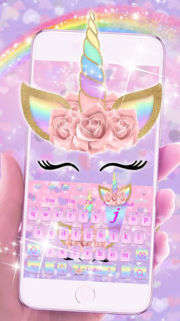 Pink Flower Unicorn Keyboard Theme screenshot 3