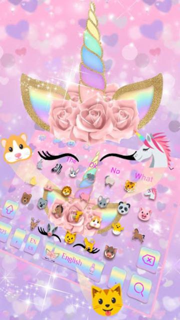 Pink Flower Unicorn Keyboard Theme screenshot 2