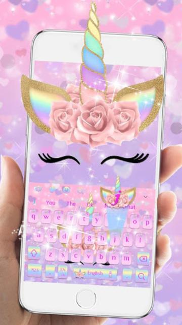 Pink Flower Unicorn Keyboard Theme screenshot 6