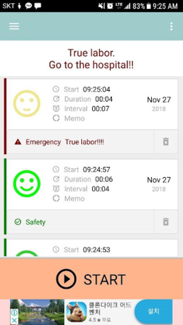 Contractions Timer for labor(Checker/Tracker) screenshot 1