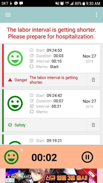 Contractions Timer for labor(Checker/Tracker) screenshot 2