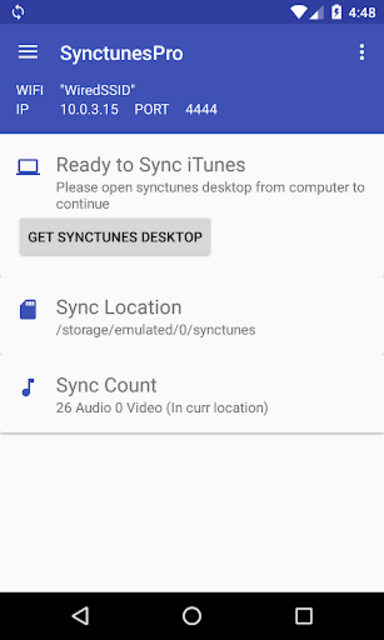 Sync iTunes to android - Free screenshot 1