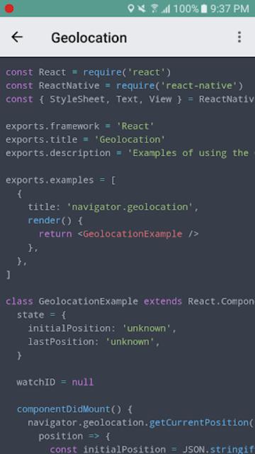 React Native Explorer with code screenshot 1