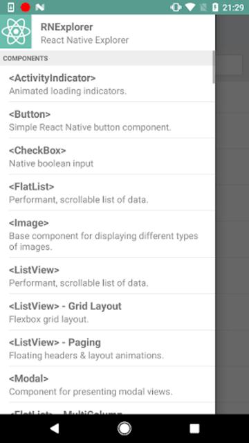 React Native Explorer with code screenshot 2