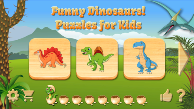Funny Dinosaurs Kids Puzzles, full game. screenshot 1
