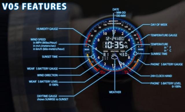 V05 WatchFace for Moto 360 screenshot 1