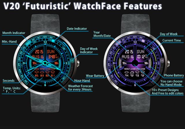 V20 Watch Face for Moto 360 screenshot 1