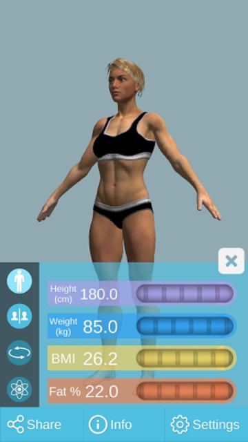 BMI 3D Pro (3D BMI Calculator) screenshot 3