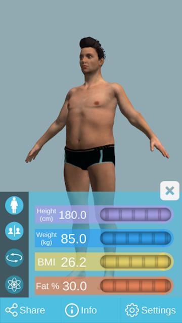 BMI 3D Pro (3D BMI Calculator) screenshot 2
