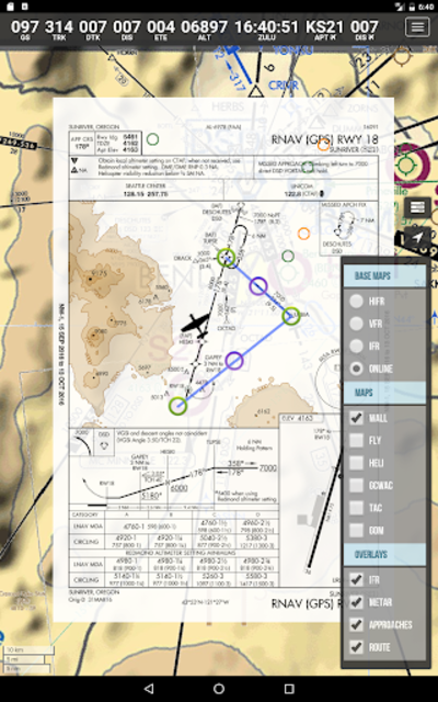 SkyCharts XC EFB geo-referenced plates and charts screenshot 2
