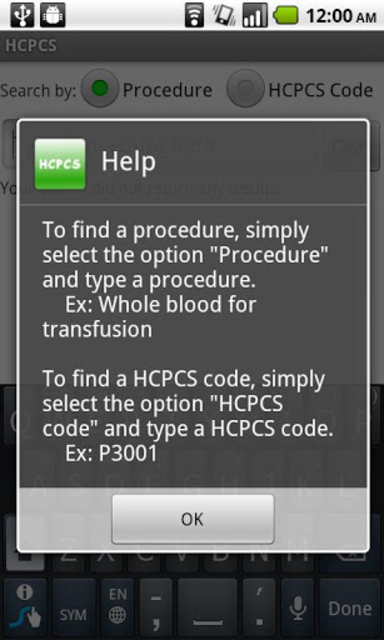 HCPCS screenshot 3