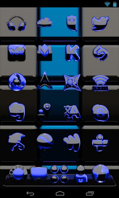 Next Launcher Theme black blue screenshot 2