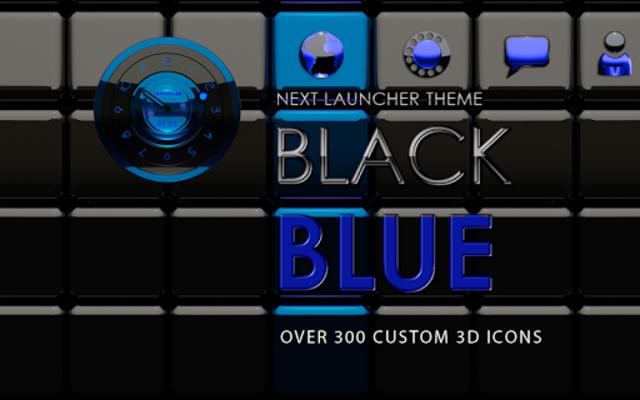 Next Launcher Theme black blue screenshot 5