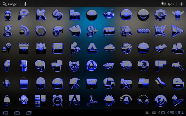 Next Launcher Theme black blue screenshot 6