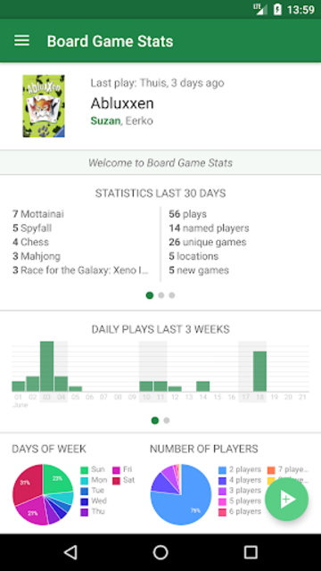 Board Game Stats: Play tracking for tabletop games screenshot 1