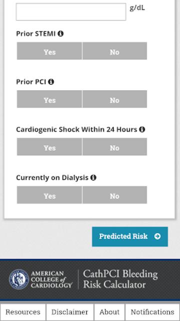 CathPCI Risk Calculator screenshot 3