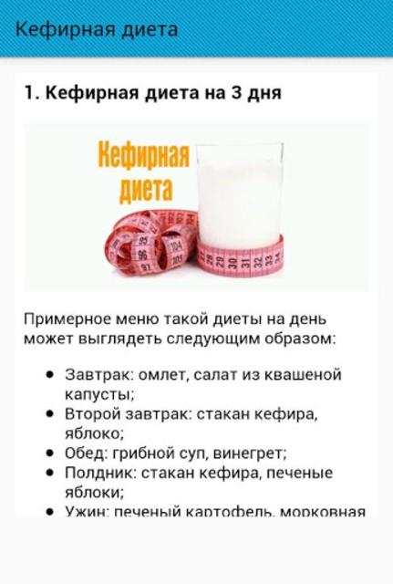 Рецепты кефирных диета