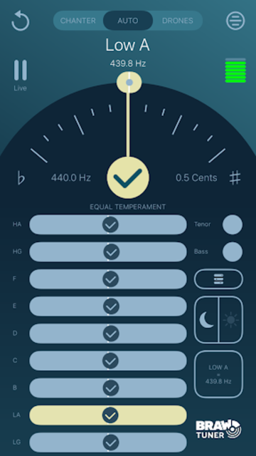 Braw Bagpipe Tuner screenshot 2