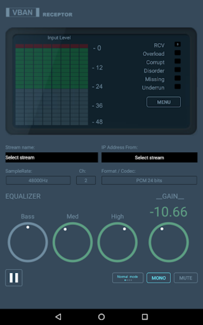 VBAN Receptor screenshot 2
