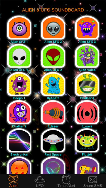 Alien Voice & UFO Soundboard Button: 90+ Sci-Fi Sound Effects of Robot Chatter & Space Flying screenshot 1