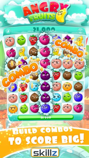 Angry Fruits 1 VS 1 Puzzle : Real Money Gaming screenshot 1
