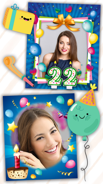 Birthday photo frames and stickers – Pro screenshot 1
