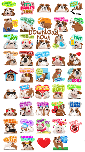 English Bulldog Emoji Stickers screenshot 5