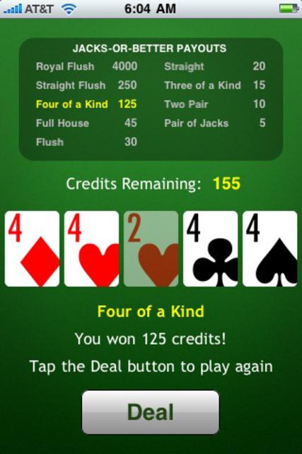 JacksOrBetter Video Poker screenshot 1