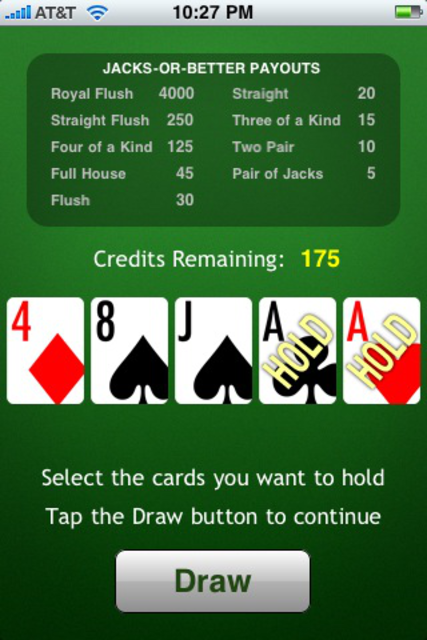 JacksOrBetter Video Poker screenshot 2