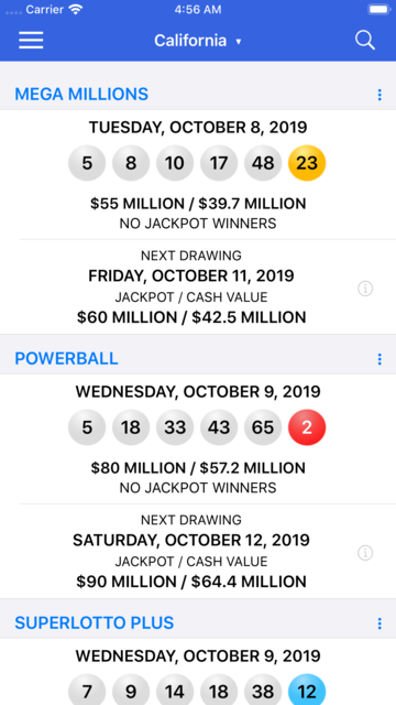 Lotto Results + Lottery in US screenshot 1