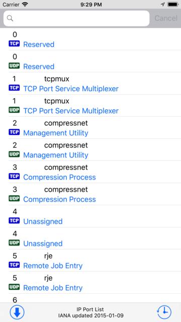 IP Port List screenshot 1