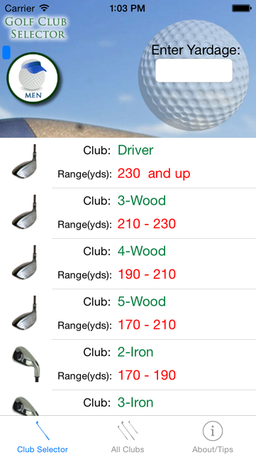 Golf Club Selector - The quickest way to use the correct club! screenshot 1
