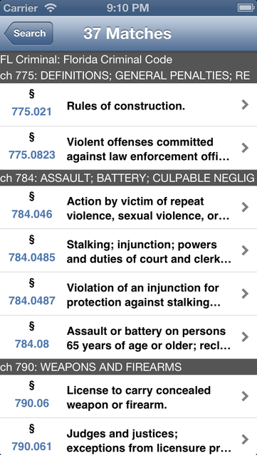 FL Criminal Code (LawStack's Florida Law/Statutes) screenshot 3