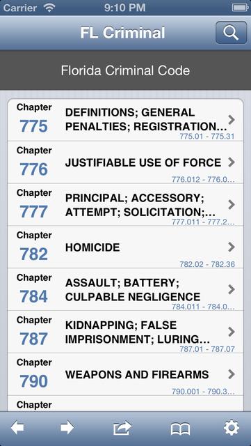 FL Criminal Code (LawStack's Florida Law/Statutes) screenshot 1