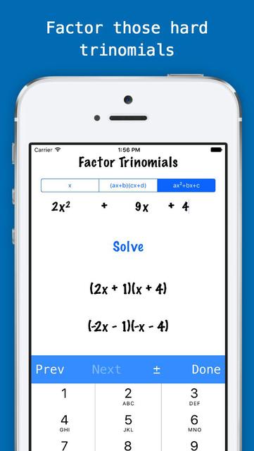 Factorlator - Factoring & Distribution Calculator for Trinomials, Binomials, & Numbers screenshot 1