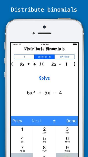 Factorlator - Factoring & Distribution Calculator for Trinomials, Binomials, & Numbers screenshot 2