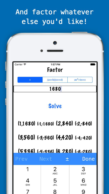 Factorlator - Factoring & Distribution Calculator for Trinomials, Binomials, & Numbers screenshot 3