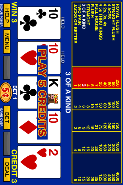 Bonus Poker free screenshot 3