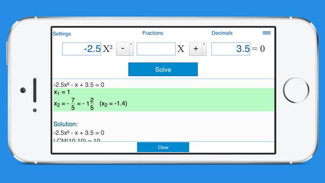 Quadratic Equation Calculator with Steps screenshot 1
