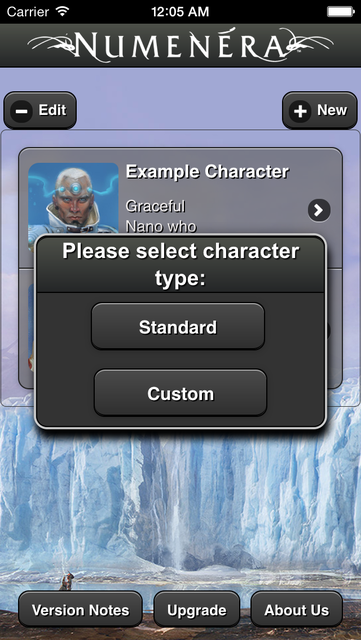 Numenera Character Creator screenshot 1