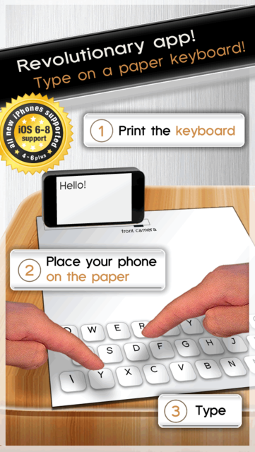 Paper Keyboard - Fast typing and playing with an alternative printed projector keypad screenshot 1