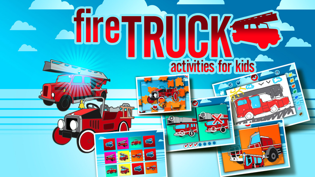 Fire Trucks Activities for Kids: Puzzles, Drawing and other Games screenshot 1