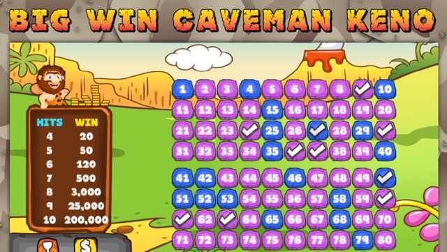 Caveman Keno Casino FREE - Double Bonus Fun with Game screenshot 2